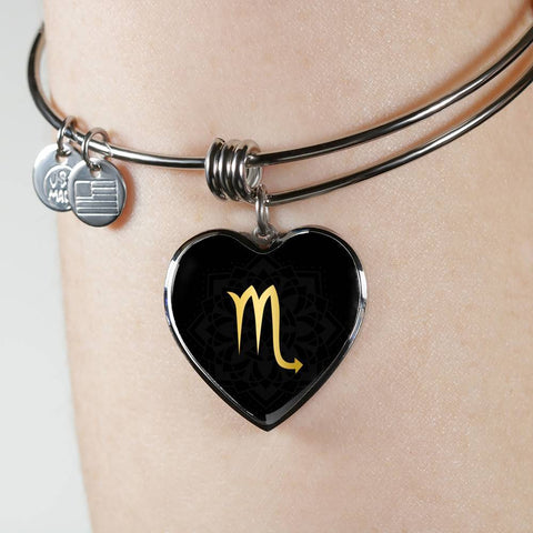 Gold on Black Scorpio Zodiac Astrology Heart Bangle Bracelet - Lyghtt