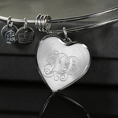 Heart Bangle Bracelet with Silver Initial, Personalized, Monogram & Name W - Lyghtt