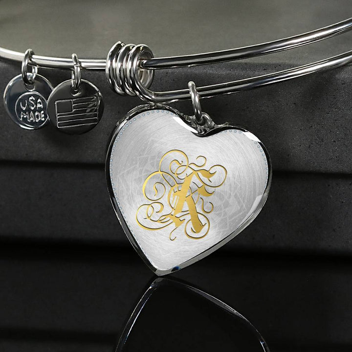 Heart Bangle Necklace with Gold K Initial, Personalized Monogram & Name - Lyghtt