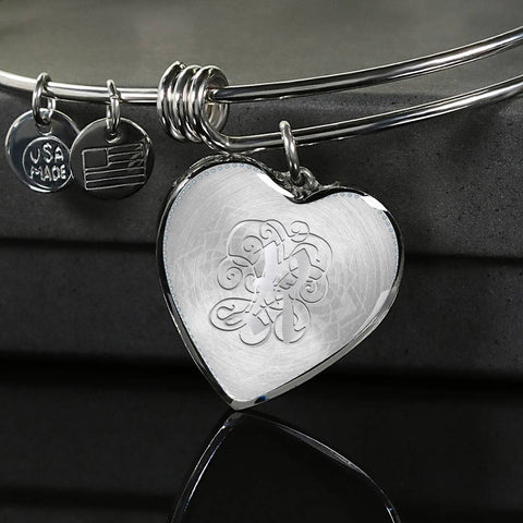 Heart Bangle Bracelet with Silver Initial, Personalized, Monogram & Name R - Lyghtt