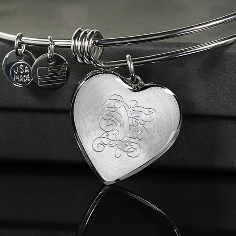 Heart Bangle Bracelet with Silver Initial, Personalized, Monogram & Name Y - Lyghtt