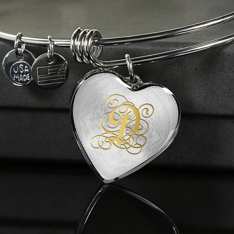 Heart Bangle Necklace with Gold D Initial, Personalized Monogram & Name - Lyghtt