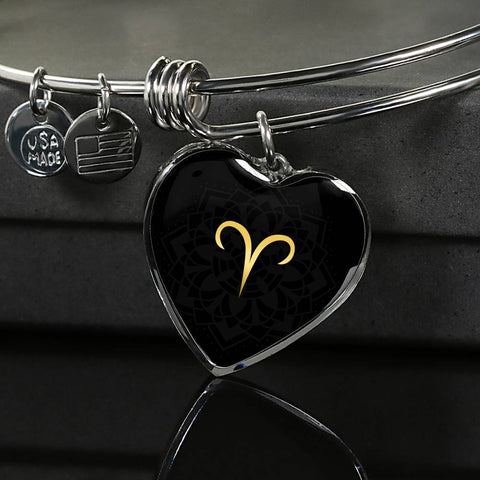 Gold on Black Aries Zodiac Astrology Heart Bangle Bracelet - Lyghtt
