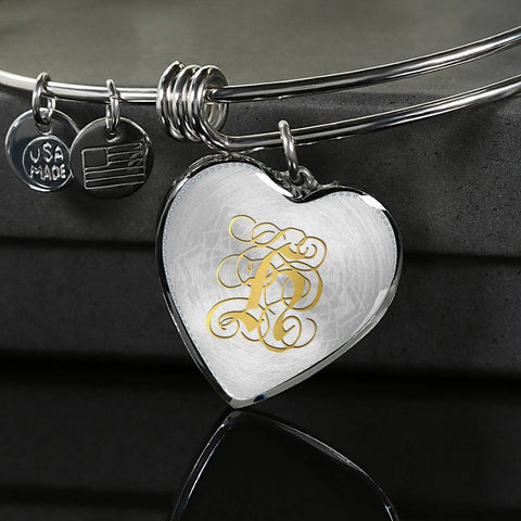 Heart Bangle Necklace with Gold H Initial, Personalized Monogram & Name - Lyghtt