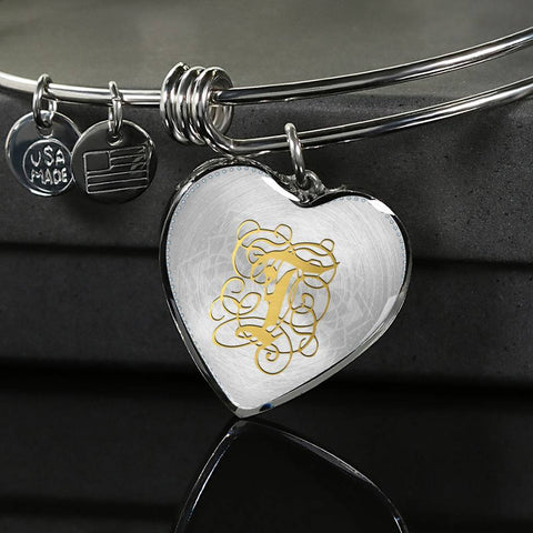 Heart Bangle Necklace with Gold T Initial, Personalized Monogram & Name - Lyghtt