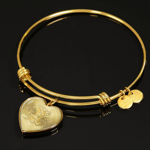 Heart Bangle Necklace with Gold N Initial, Personalized Monogram & Name - Lyghtt