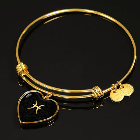 Gold on Black Pisces Zodiac Astrology Heart Bangle Bracelet - Lyghtt