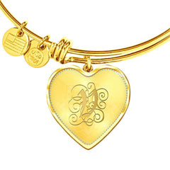 Heart Bangle Necklace with Gold V Initial, Personalized Monogram & Name
