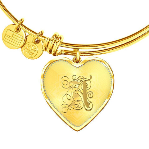 Heart Bangle Necklace with Gold A Initial, Personalized Monogram & Name - Lyghtt