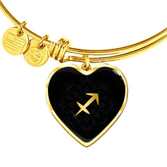 Gold on Black Sagittarius Zodiac Astrology Heart Bangle Bracelet - Lyghtt