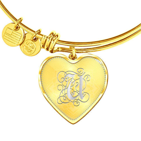 Heart Bangle Bracelet with Silver Initial, Personalized, Monogram & Name U - Lyghtt