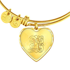 Heart Bangle Necklace with Gold N Initial, Personalized Monogram & Name