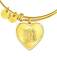 Heart Bangle Necklace with Gold M Initial, Personalized Monogram & Name