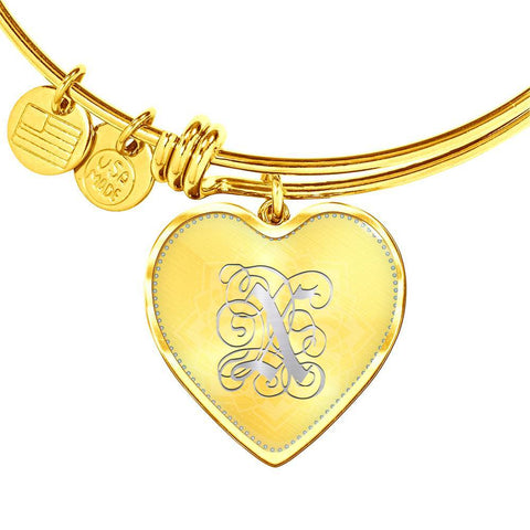 Heart Bangle Bracelet with Silver Initial, Personalized, Monogram & Name X - Lyghtt