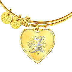 Heart Bangle Bracelet with Silver Initial, Personalized, Monogram & Name Z - Lyghtt
