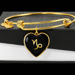 Gold on Black Capricorn Zodiac Astrology Heart Bangle Bracelet