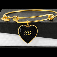 Gold on Black Aquarius Zodiac Astrology Heart Bangle Bracelet