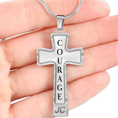 Courage Intention Cross Style Pendant Necklace