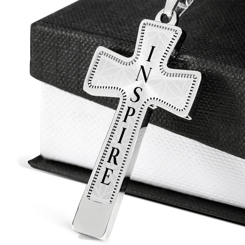 Inspire Intention Cross Style Pendant Necklace