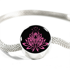 Pink on Black Lotus Charm Bracelet