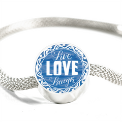 Live Love Laugh Blue Ocean Lovers Charm Bracelet