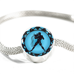 Aquarius Blue Zodiac Sign Charm Bracelet