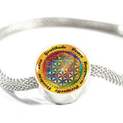 Affirmation Flower of Life Charm Bracelet