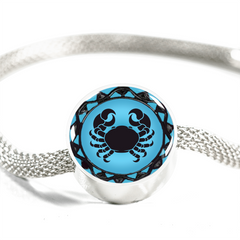Cancer Blue Zodiac Sign Charm Bracelet