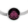 Image of Pink on Black Lotus Charm Bracelet - Lyghtt