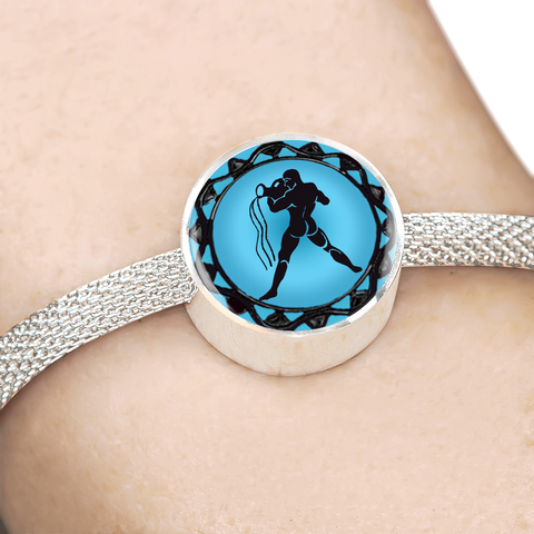 Aquarius Blue Zodiac Sign Charm Bracelet - Lyghtt