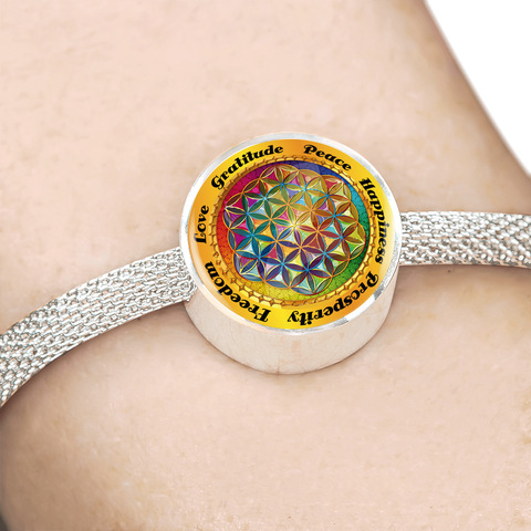 Affirmation Flower of Life Charm Bracelet - Lyghtt