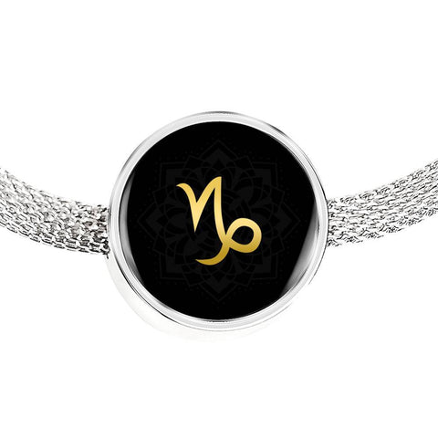 Gold on Black Capricorn Zodiac Astrology Charm Bracelet - Lyghtt