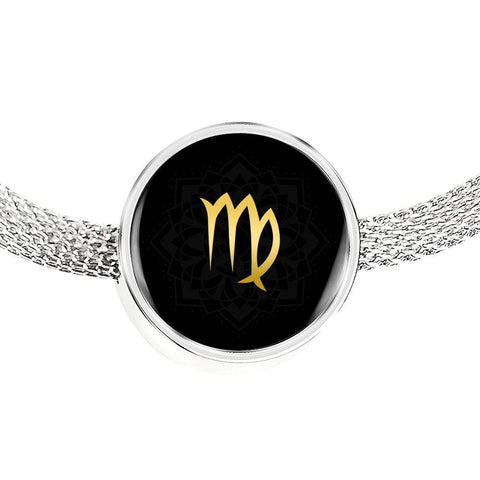 Gold on Black Virgo Zodiac Astrology Charm Bracelet - Lyghtt
