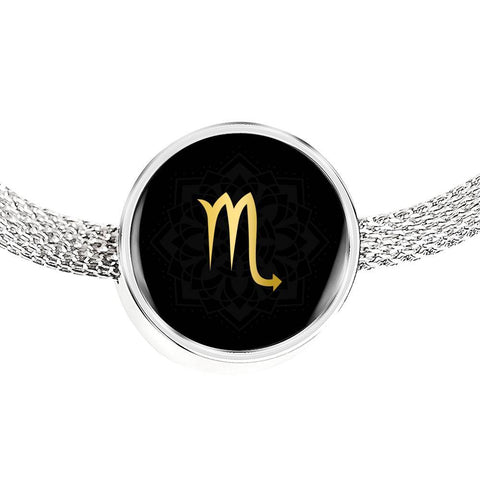 Gold on Black Scorpio Zodiac Astrology Charm Bracelet - Lyghtt