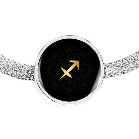 Gold on Black Sagittarius Zodiac Astrology Charm Bracelet - Lyghtt