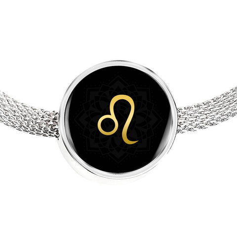 Gold on Black Leo Zodiac Astrology Charm Bracelet - Lyghtt