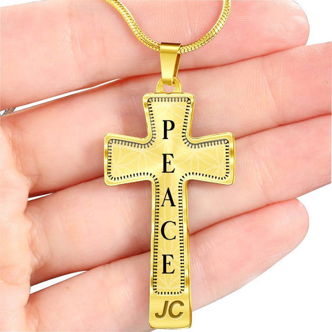 Peace Intention Cross Style Pendant Necklace