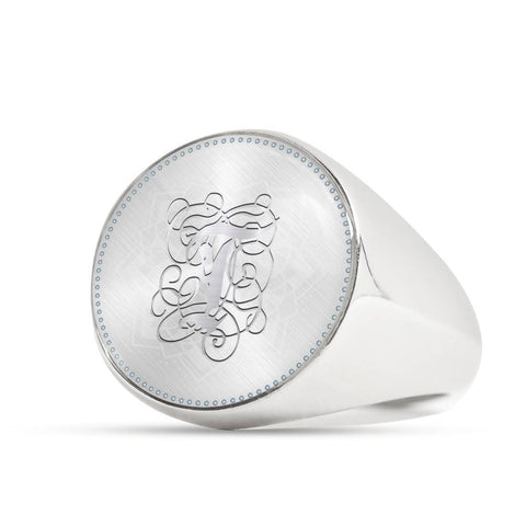 Personalized, Monogram Name Signet Ring with T Silver Initial - Lyghtt
