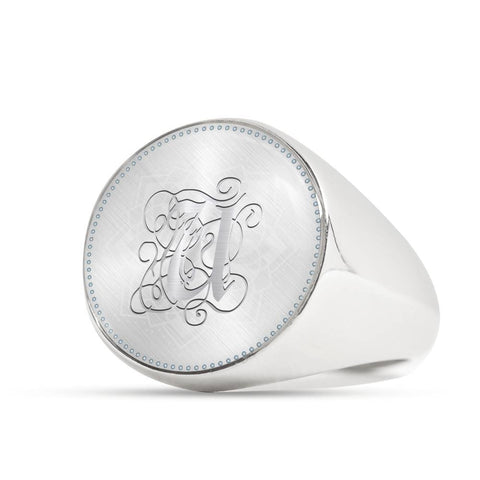 Personalized, Monogram Name Signet Ring with U Silver Initial
