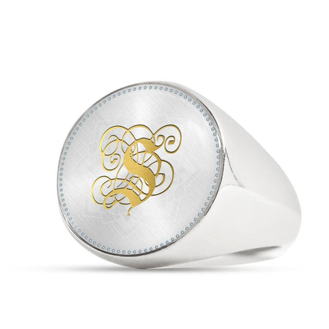 Personalized, Monogram Name Signet Ring with Gold S Initial