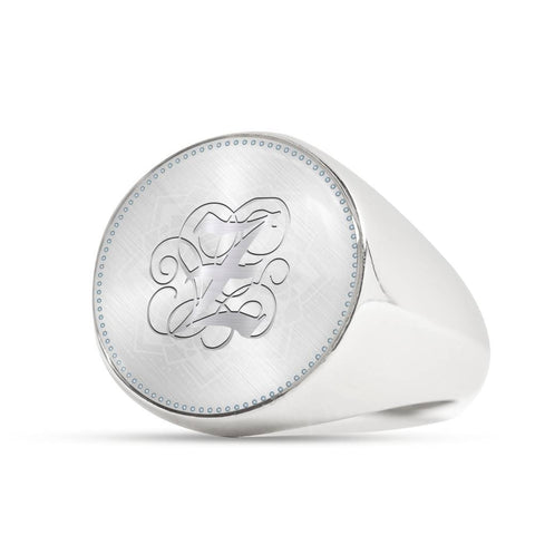 Personalized, Monogram Name Signet Ring with Z Silver Initial - Lyghtt