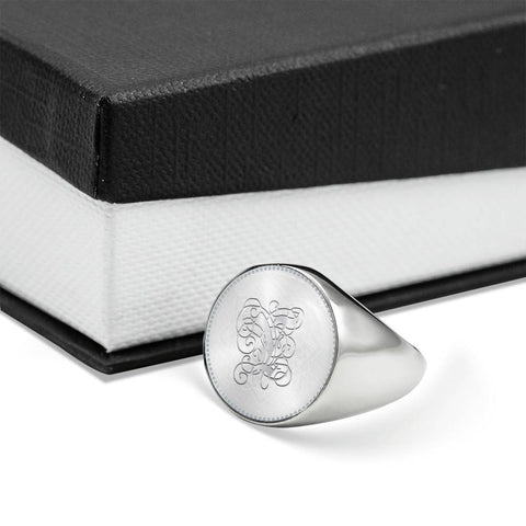 Personalized, Monogram Name Signet Ring with Y Silver Initial