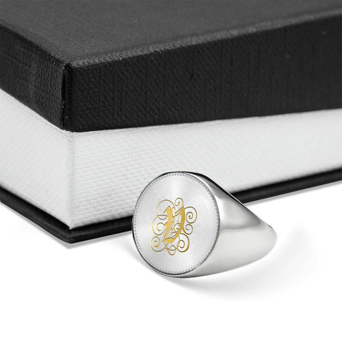 Personalized, Monogram Name Signet Ring with Gold V Initial - Lyghtt