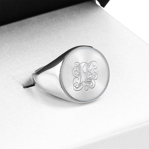 Personalized, Monogram Name Signet Ring with W Silver Initial - Lyghtt