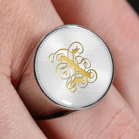 Personalized, Monogram Name Signet Ring with Gold X Initial - Lyghtt