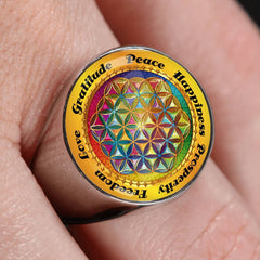 Affirmation Flower of Life Signet Ring