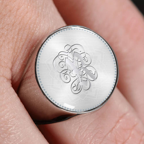 Personalized, Monogram Name Signet Ring with R Silver Initial