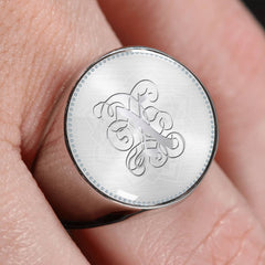 Personalized, Monogram Name Signet Ring with X Silver Initial