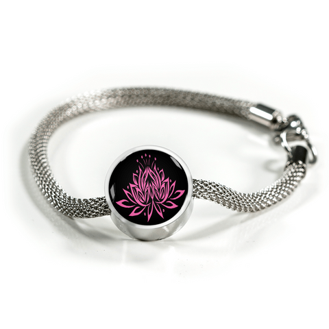 Pink on Black Lotus Charm Bracelet - Lyghtt