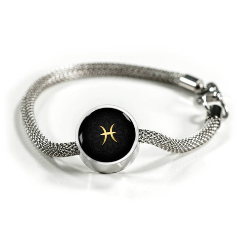 Gold on Black Pisces Zodiac Astrology Charm Bracelet - Lyghtt